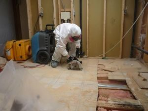 Technician Removing Mold From Store Floor